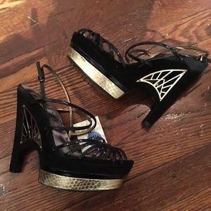 NEW* Sam Edelman Spider gold black suede heels